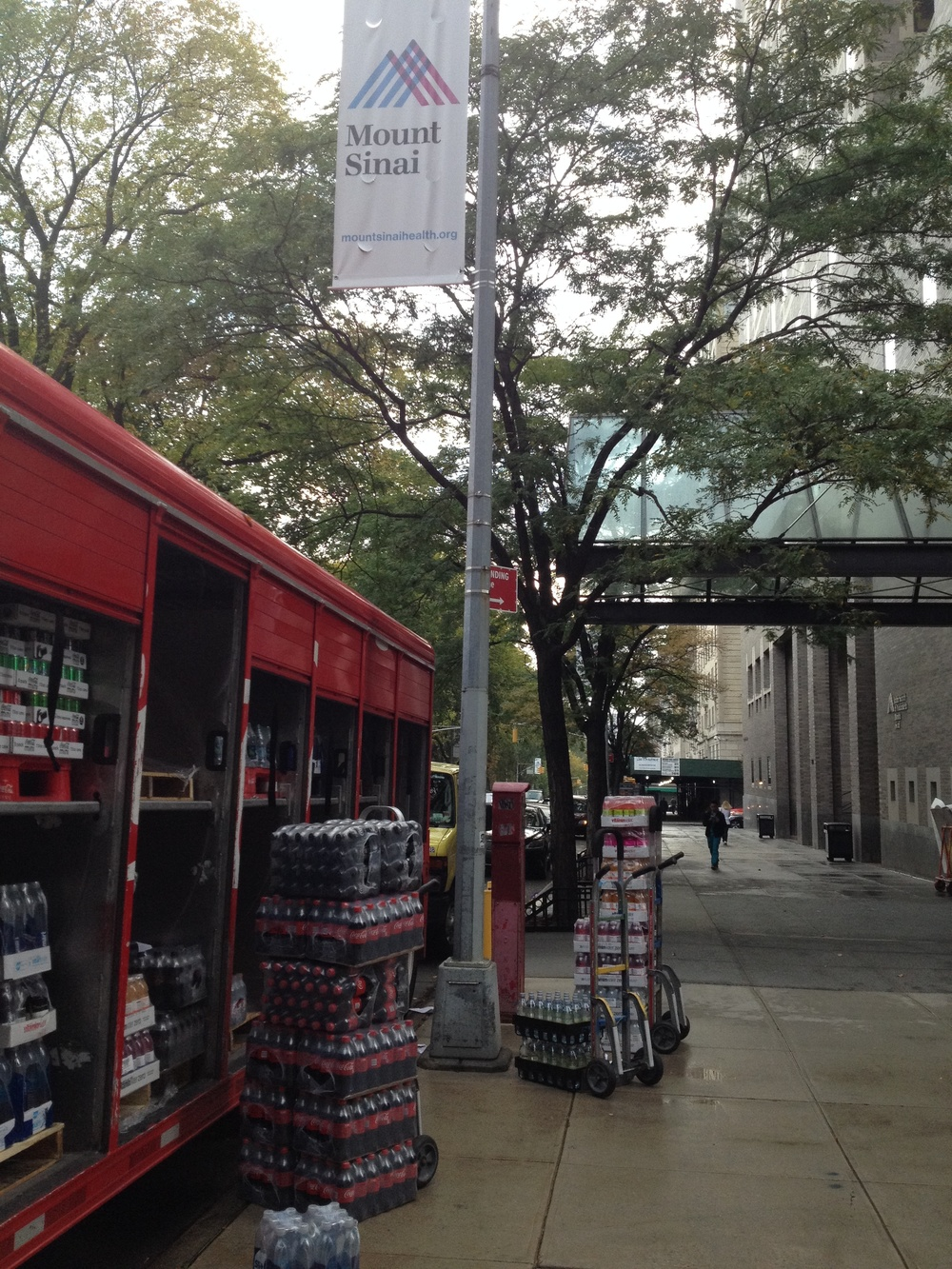 A truckload of coke products is dropped off at Mt. Sinai's Fifth Avenue entrance.